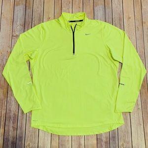 Nike Running Dri-fit Ekement Mens neon yellow Sz L